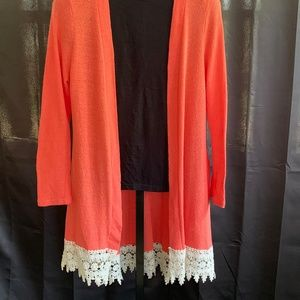 Umgee Coral Cardigan with Lace Trim